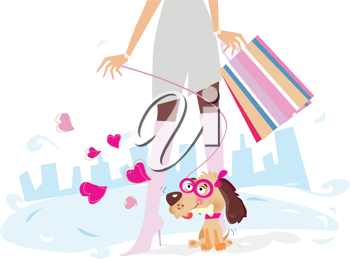 Royalty Free Clipart Image of a Shopper and a Dog