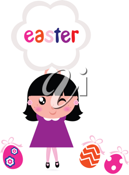 Royalty Free Clipart Image of a Girl With an Easter Banner