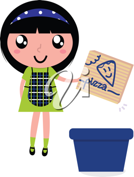 Royalty Free Clipart Image of a Girl Recycling Cardboard