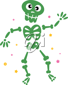 Funny Skeleton isolated on white. Vector cartoon illustration