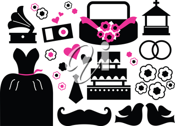 Wedding items silhouette - black and pink. Vector