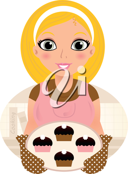 Royalty Free Clipart Image of a Woman Baking Cupcakes
