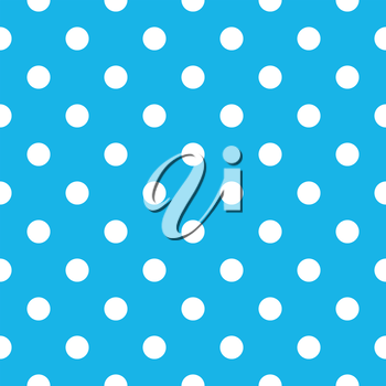 Fabric with cyan fresh dots. Retro vector background or pattern