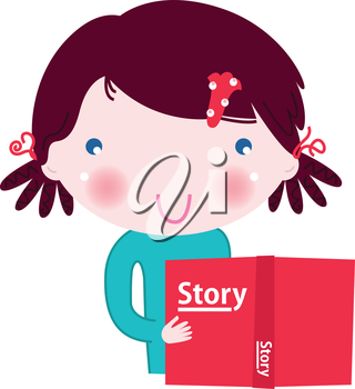Girl with red book. Vector cartoon Illustration