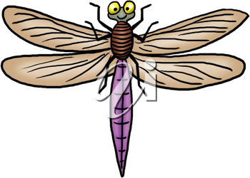 Royalty Free Clipart Image of a Smiling Dragonfly