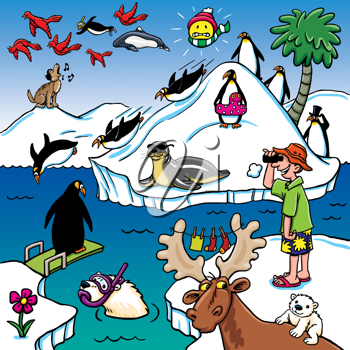 Royalty Free Clipart Image of Animals, a Man and Summer and Winter Pictures