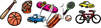 Royalty Free Clipart Image of Sporting Items