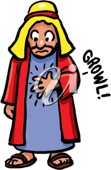 Royalty Free Clipart Image of a Man With a Grumbling Stomach
