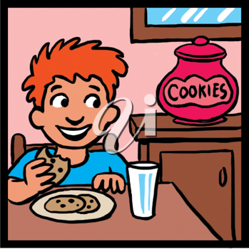 Royalty Free Clipart Image of a Boy With Milk and Cookies