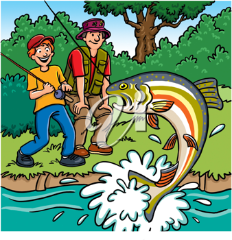Royalty Free Clipart Image of a Boy and Father Fishing