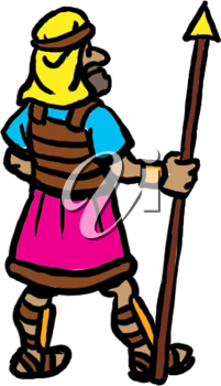 Royalty Free Clipart Image of a Man With a Spear