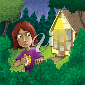 Royalty Free Clipart Image of a Girl Looking at a House