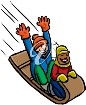 Royalty Free Clipart Image of Two Boys Tobogganing