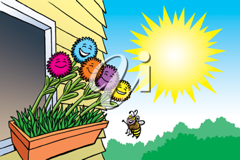 Royalty Free Clipart Image of a Flowers in a Window Box, a Bee and the Sun