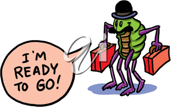 Royalty Free Clipart Image of an Insect With Suitcase