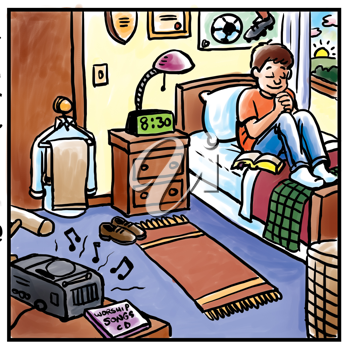 Royalty Free Clipart Image of a Boy in Bed Prying With Music on the Radio