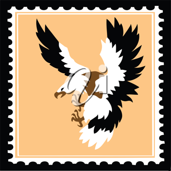 Royalty Free Clipart Image of an Eagle Postage Stamp