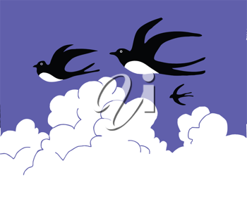 Royalty Free Clipart Image of Swallows Flying