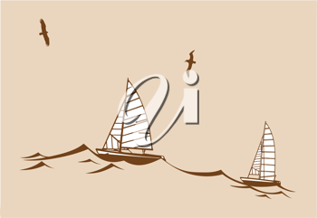Royalty Free Clipart Image of Boats in Water
