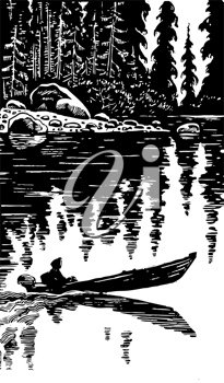 Royalty Free Clipart Image of a Person in a Boat