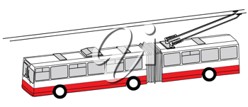 Royalty Free Clipart Image of a Trolley Bus