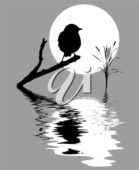 Royalty Free Clipart Image of a Bird on a Branch