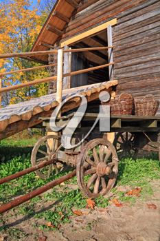 aging cart near rural stable