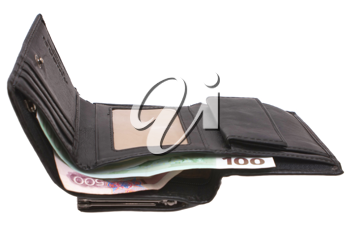 Open wallet with money on a white background.