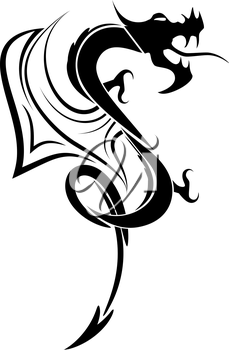 Picture black and white dragon tattoo, EPS8 - vector graphics.