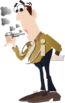 Royalty Free Clipart Image of a Man Smoking a Pipe