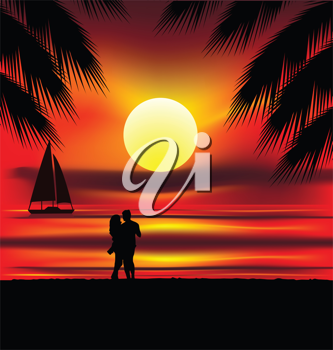 Royalty Free Clipart Image of Two Silhouettes on the Beach