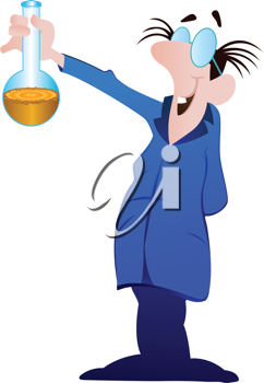 Royalty Free Clipart Image of a Scientist With a Beaker