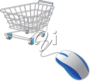 Royalty Free Clipart Image of a Shopping Cart and Computer Mouse