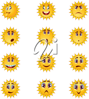 Royalty Free Clipart Image of Sun Faces