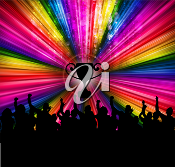 Royalty Free Clipart Image of a Silhouetted Crowd on a Multi-Coloured Background