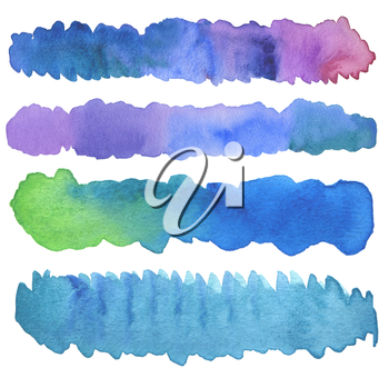 Set of watercolor brush strokes. Isolated on white.