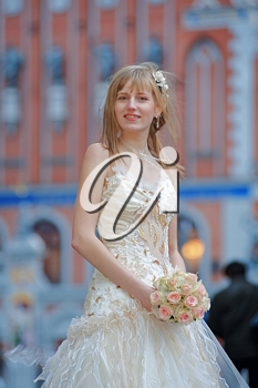 Royalty Free Photo of a Bride in a Lacy Dress