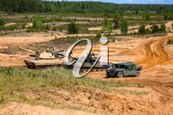 Tanks and armored vehicles in Latvia. International Military Training Saber Strike 2017, Adazi, Latvia, from 3 to 15 June 2017. US Army Europe-led annual International militaryexercise Saber Strike Field Training Exercisein Latvia.