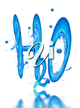 Royalty Free Clipart Image of H2O in Water