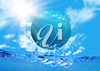 Royalty Free Clipart Image of a Sphere Above the Water