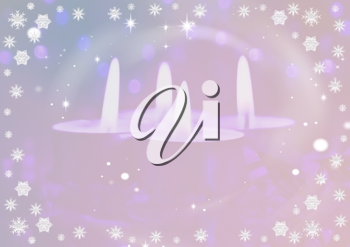 Royalty Free Clipart Image of a Lit Candle Background With Snowflake