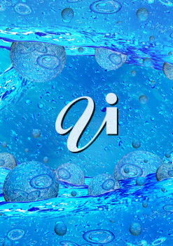 Royalty Free Clipart Image of a Water Background With Bubbles
