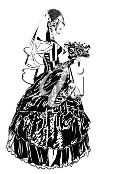 Royalty Free Clipart Image of a Bride Holding a Bouquet of Flowers