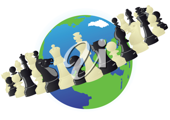 Royalty Free Clipart Image of Chess Pieces in Orbit