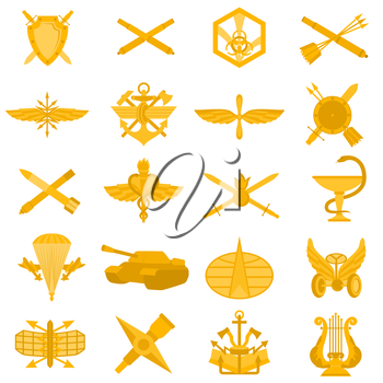 Badges of arms of the Russian Army. Illustration on white background.