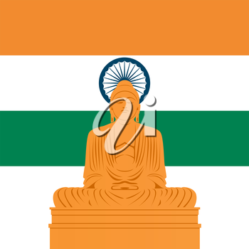 National Flag and the outline of buildings and architectural structures. The illustration on a white background.