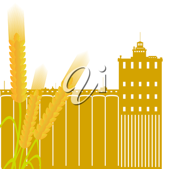 Ear of wheat against the elevator. Illustration on white background.
