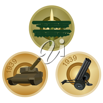 Set of badges with military equipment on a background of the back side of the liner. Illustration on white background.