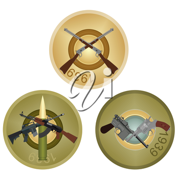 Set of badges with small arms on the background of the back side of the liner. Illustration on white background.