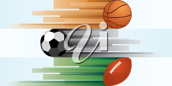 Balls for basketball, soccer, rugby, on an abstract background. Illustration on white background.